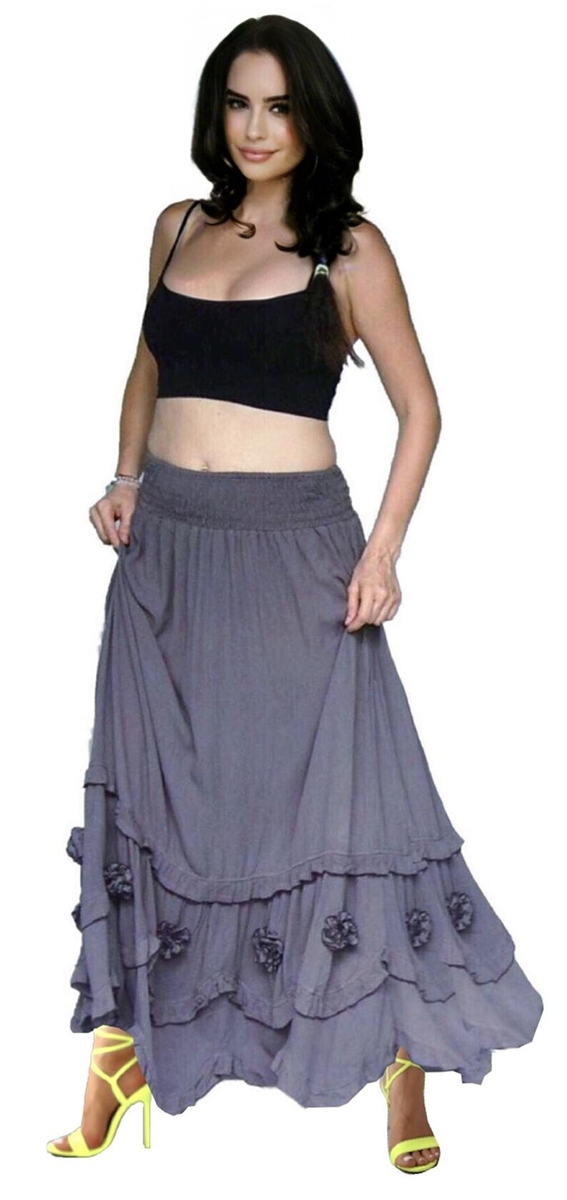 Bohemian Maxi Skirt Smocked Waist Ruffled 3 D Roses Flowers Made To Order W554 Lotustraders